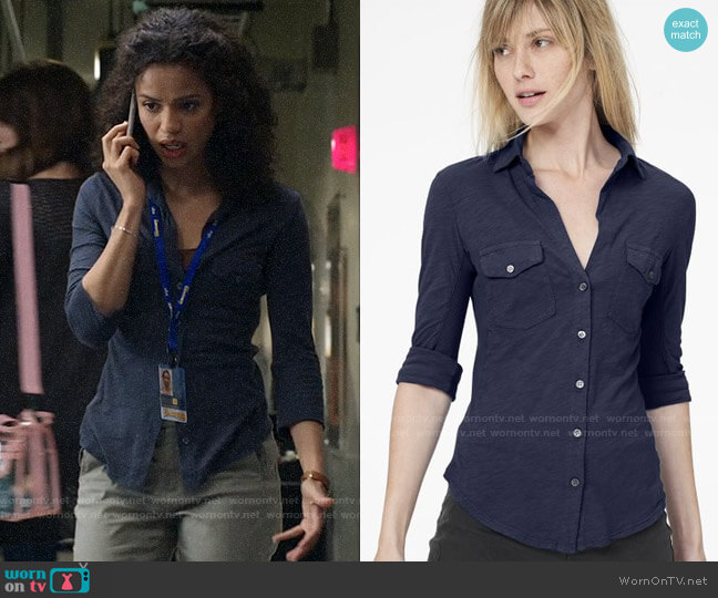 James Perse Sheer Slub Side Panel Shirt worn by Hannah Shoenfeld (Gugu Mbatha-Raw) on The Morning Show