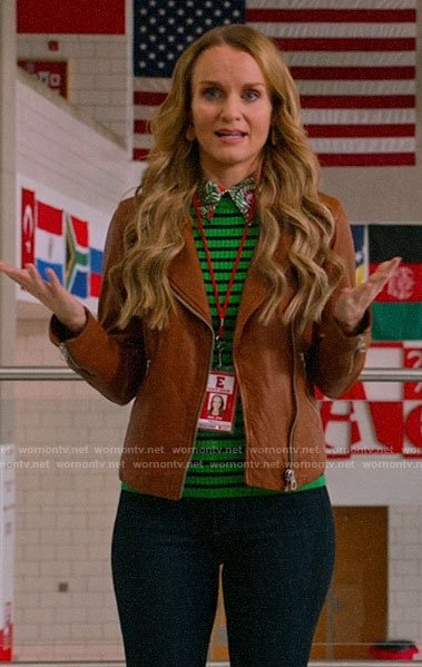 Miss Jenn's green striped sweater and tan leather jacket on High School Musical The Musical The Series