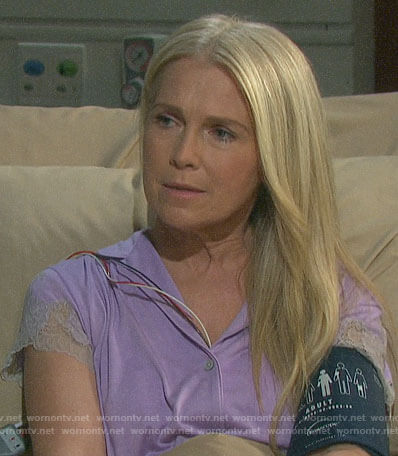 Jennifer's purple lace trim pajamas on Days of our Lives