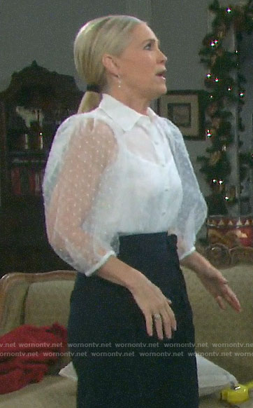 Jennifer's sheer white dotted blouse on Days of our Lives