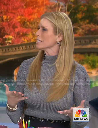 Jill's metallic ribbed sweater and embellished pants on Today