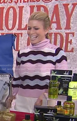 Jill's pink zig-zag striped turtleneck sweater on Today