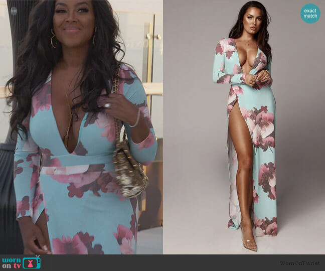 Stella Floral Maxi Skirt and Bodysuit by Jlux Label worn by Kenya Moore  on The Real Housewives of Atlanta