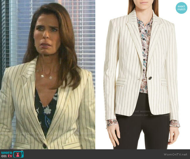 Rag & Bone Millie Frayed Stripe Blazer worn by Hope Williams (Kristian Alfonso) on Days of our Lives