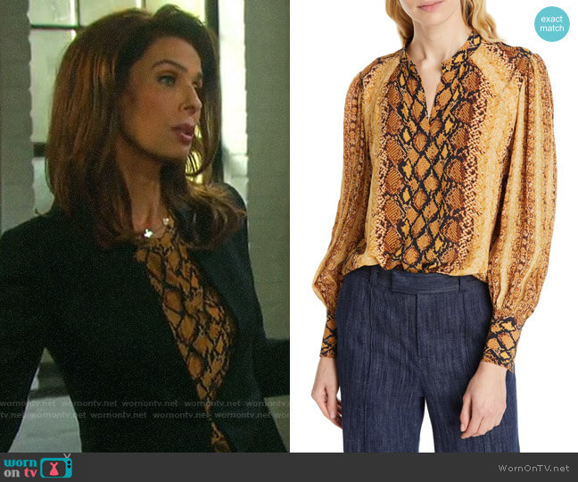 Joie Talin Blouse worn by Hope Williams (Kristian Alfonso) on Days of our Lives