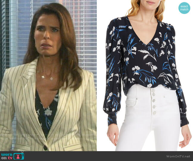 Joie Yadra Floral Top worn by Hope Williams (Kristian Alfonso) on Days of our Lives