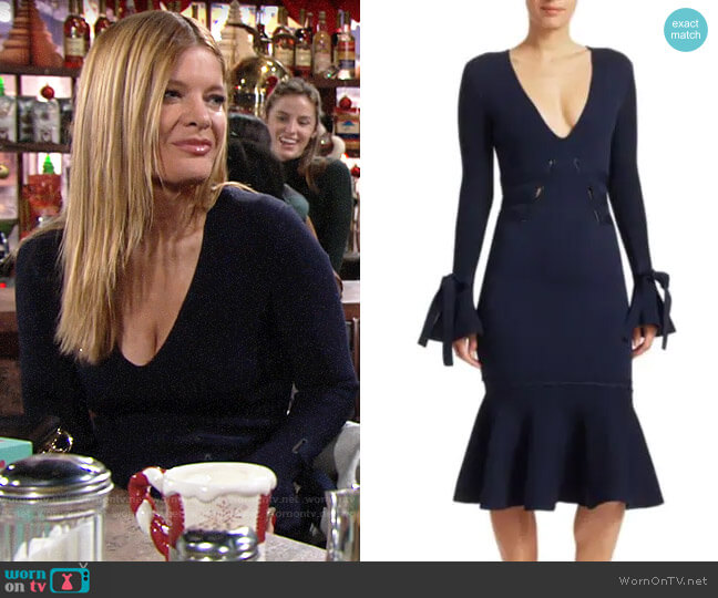 Jonathan Simkhai Grommet Jacquard V-Neck Dress worn by Phyllis Summers (Michelle Stafford) on The Young & the Restless