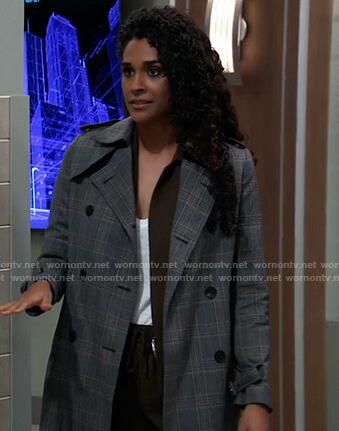 Jordan's plaid trench coat on General Hospital
