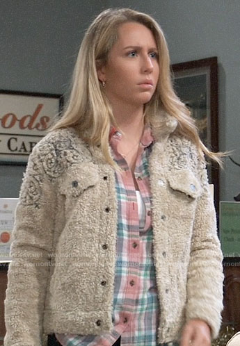 Josslyn's embroidered sherpa jacket on General Hospital