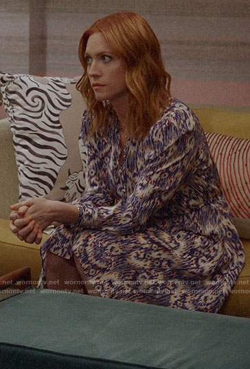 Julia's purple abstract print long sleeve dress on Almost Family