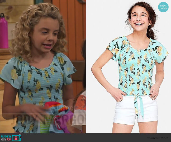 Smocked Off Shoulder Top by Justice worn by Destiny Baker (Mallory James Mahoney) on Bunkd
