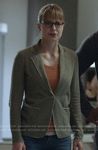 Kara's olive knit blazer on Supergirl