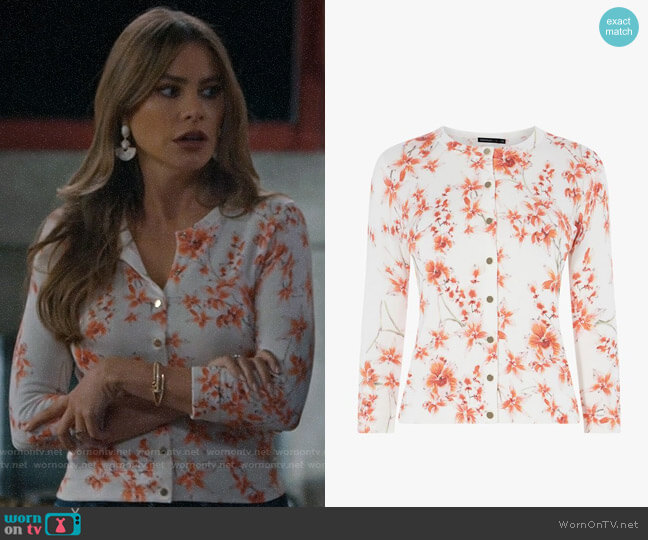 Karen Millen Orchard Floral Snap-Front Cardigan worn by  Gloria Pritchett (Sofia Vergara) on Modern Family