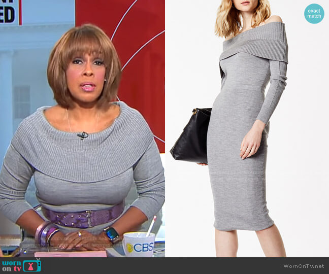 Bardot Midi Dress by Karen Millen worn by Gayle King  on CBS This Morning