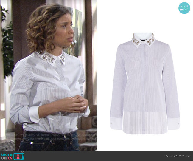 Karen Millen Embellished Collar Shirt worn by Elena Dawson (Brytni Sarpy) on The Young & the Restless