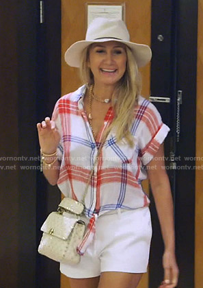 Kary's white plaid short sleeve shirt on The Real Housewives of Dallas