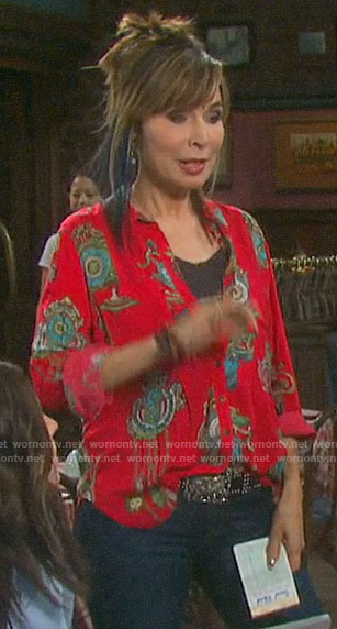 Kate's red printed button down on Days of our Lives