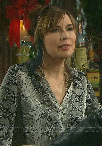 Kate's snake print blouse on Days of our Lives