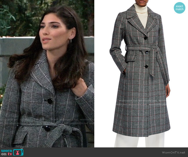 Kate Spade Glen Plaid Belted Trench Coat worn by Brook Lynn Quartermaine (Amanda Setton) on General Hospital