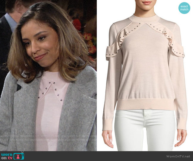 Kate Spade So Foxy Ruffle Studded Sweater worn by Elena Dawson (Brytni Sarpy) on The Young & the Restless