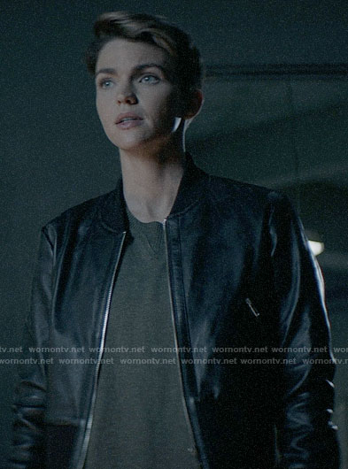 Kat's leather bomber jacket on Batwoman