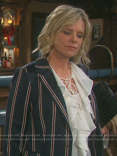 Kayla's white ruffled lace-up blouse and striped blazer on Days of our Lives