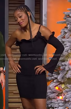 Keke's black one-sleeve dress on GMA Strahan Sara And Keke