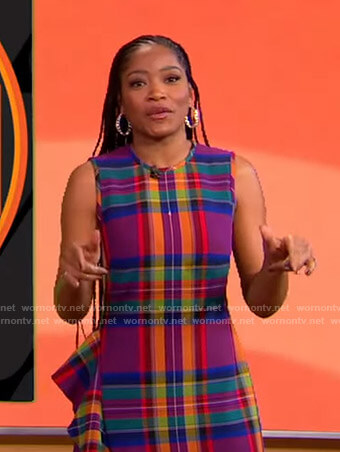Keke's plaid ruffle side dress on GMA Strahan Sara And Keke