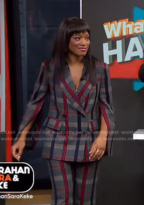 Keke's grey plaid split-sleeve blazer and pants on GMA Strahan Sara And Keke