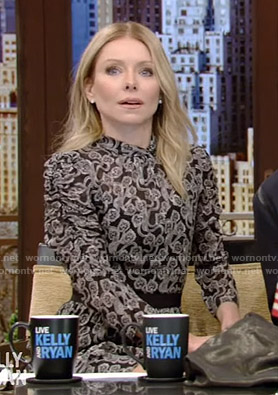 Kelly's black heart print chiffon dress on Live with Kelly and Ryan