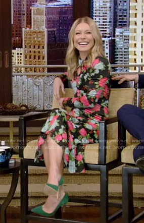 Kelly's black floral twisted neck dress on Live with Kelly and Ryan