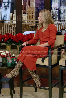 Kelly's red midi dress and leopard print boots on Live with Kelly and Ryan