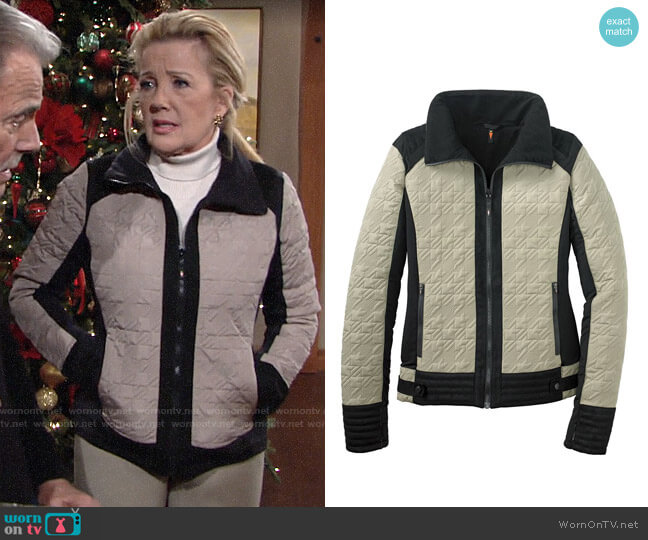 Kerrits EQ Quilted Moto Jacket worn by Nikki Reed Newman (Melody Thomas-Scott) on The Young & the Restless