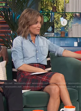 Kit's red plaid skirt by Access Hollywood