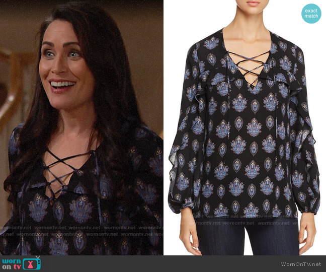 Kobi Halperin Cordelia Blouse worn by Quinn Fuller (Rena Sofer) on The Bold & the Beautiful