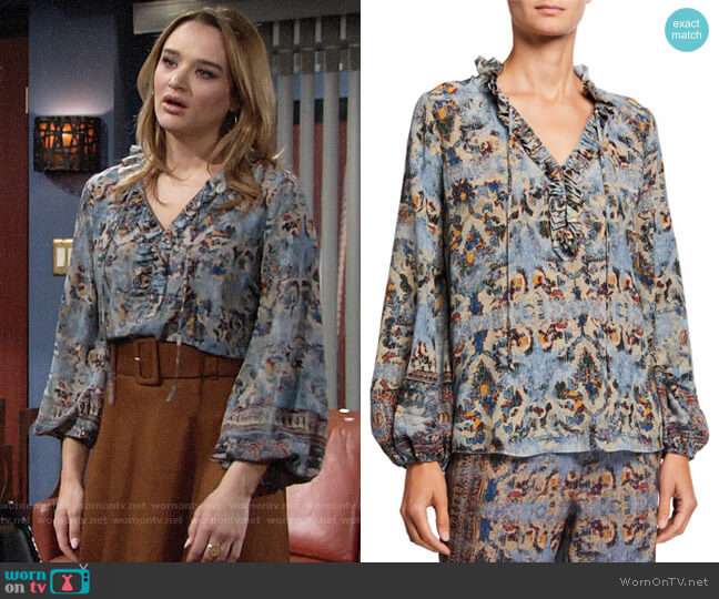 Kobi Halperin Molly Blouse worn by Summer Newman (Hunter King) on The Young & the Restless