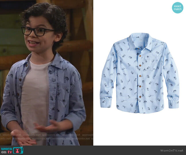 Dinosaur Print Button Down Shirt by SONOMA Goods for Life at Kohl's worn by Matteo Silva (Raphael Alejandro) on Bunkd