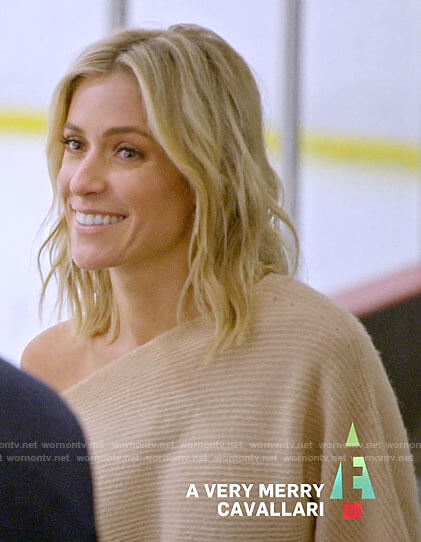 Kristin's beige off shoulder sweater on A Very Merry Cavallari