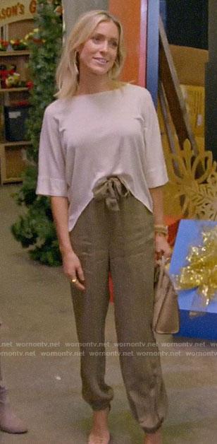 Kristin's green tie waist pants on A Very Merry Cavallari
