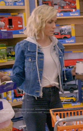 Kristin's hooded denim jacket on A Very Merry Cavallari