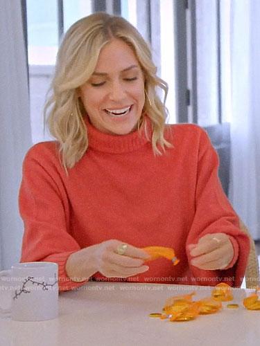 Kristin's orange cropped back turtleneck sweater on A Very Merry Cavallari