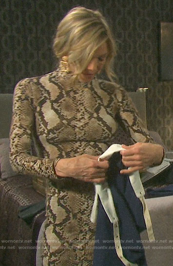 Kristen's snake print long sleeve dress on Days of our Lives