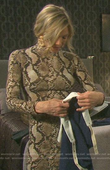 Kristen's snake print long sleeve dress on Days of our Lives