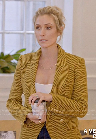Kristin's yellow herringbone blazer on A Very Merry Cavallari