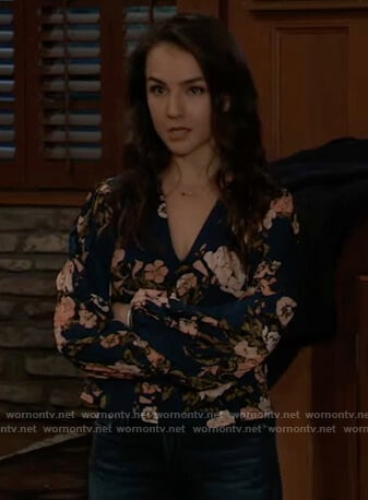 Kristina's blue floral top with pleated sleeves on General Hospital