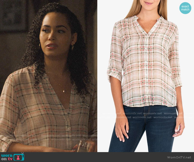 Kut from Kloth Jasmine Blouse in Sketchy Plaid worn by Macy Vaughn (Madeleine Mantock) on Charmed