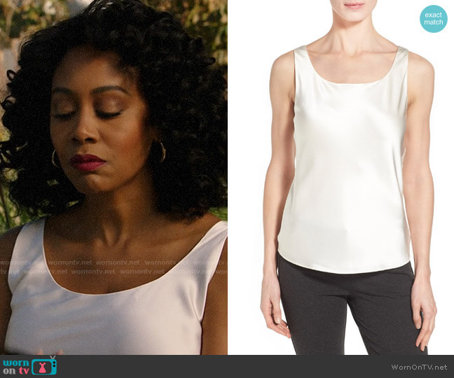 Lafayette 148 New York Silk Charmeuse Tank worn by Lola Carmichael (Simone Missick) on All Rise