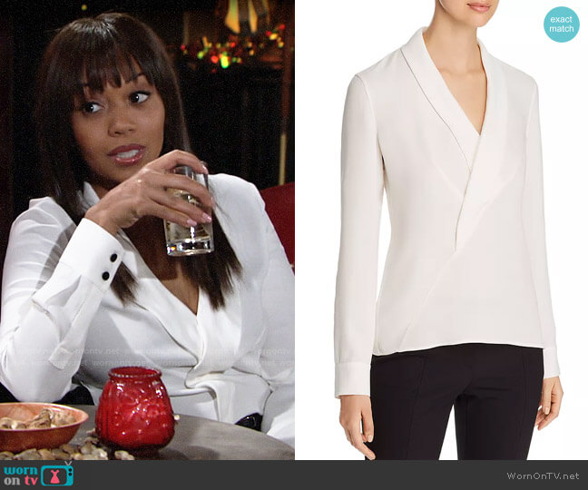 Lafayette 148 New York Carita Blouse worn by Amanda Sinclair (Mishael Morgan) on The Young & the Restless