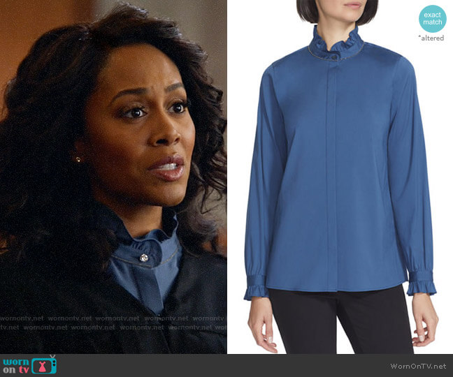 Lafayette 148 New York Kelly Blouse worn by Lola Carmichael (Simone Missick) on All Rise