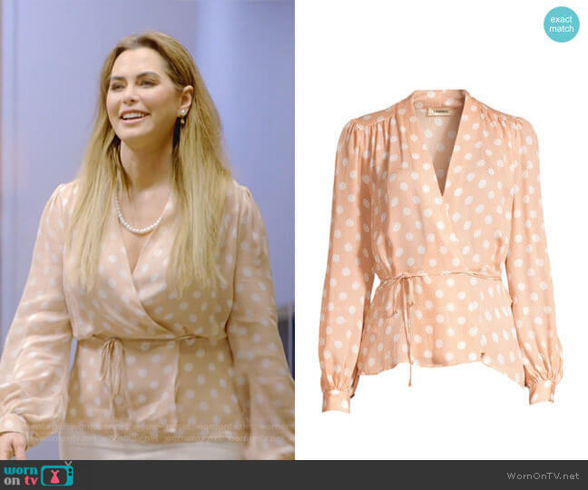 Cara Dot-Print Wrap Blouse by L'Agence worn by D'Andra Simmons  on The Real Housewives of Dallas